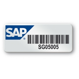 pre printed protected heavy duty asset tag colored logo sap barcode