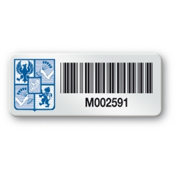 pre printed protected heavy duty asset tag colored logo barcode en