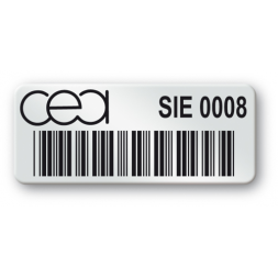 pre printed protected asset tag cea logo barcode en