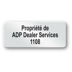 pre printed protected asset tag adp dealer services property en