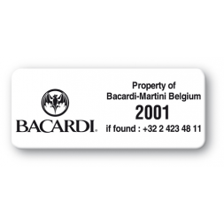 pre printed protected asset tag bacardi logo en