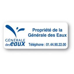 pre printed protected asset tag generale des eaux logo en