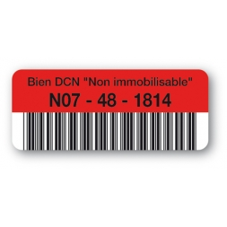 pre printed asset tag bien dcn barcode red en
