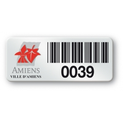 pre printed asset tag amiens ville red logo barcode en