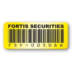etiquette polyester fortis securities code barre jaune