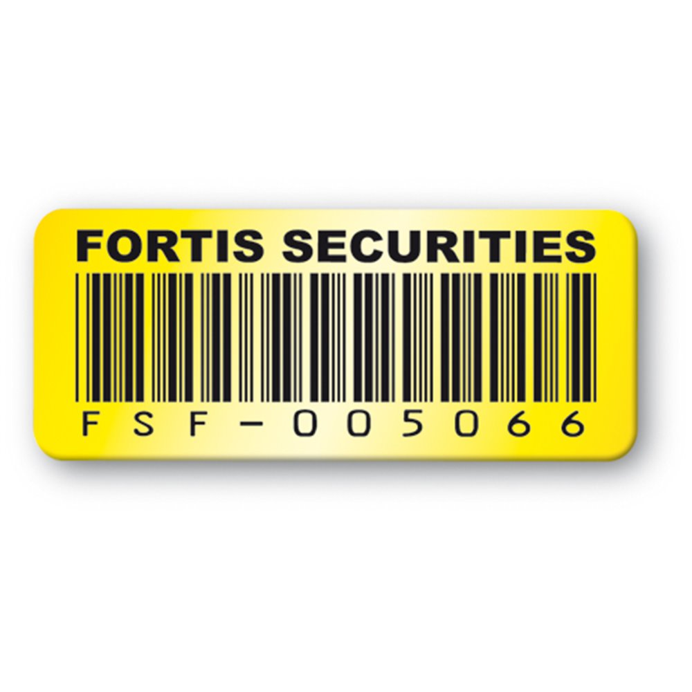 pre printed asset tag fortis securities yellow barcode en