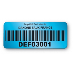 pre printed blue background color asset tag danone barcode en