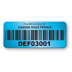 etiquette double adhesif danone bleu code barre