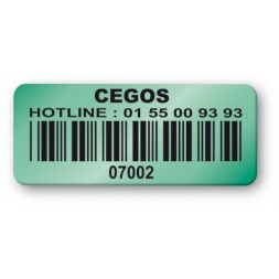 pre printed green background color asset tag cegos barcode en