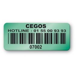 etiquette double adhesif cegos vert code barre