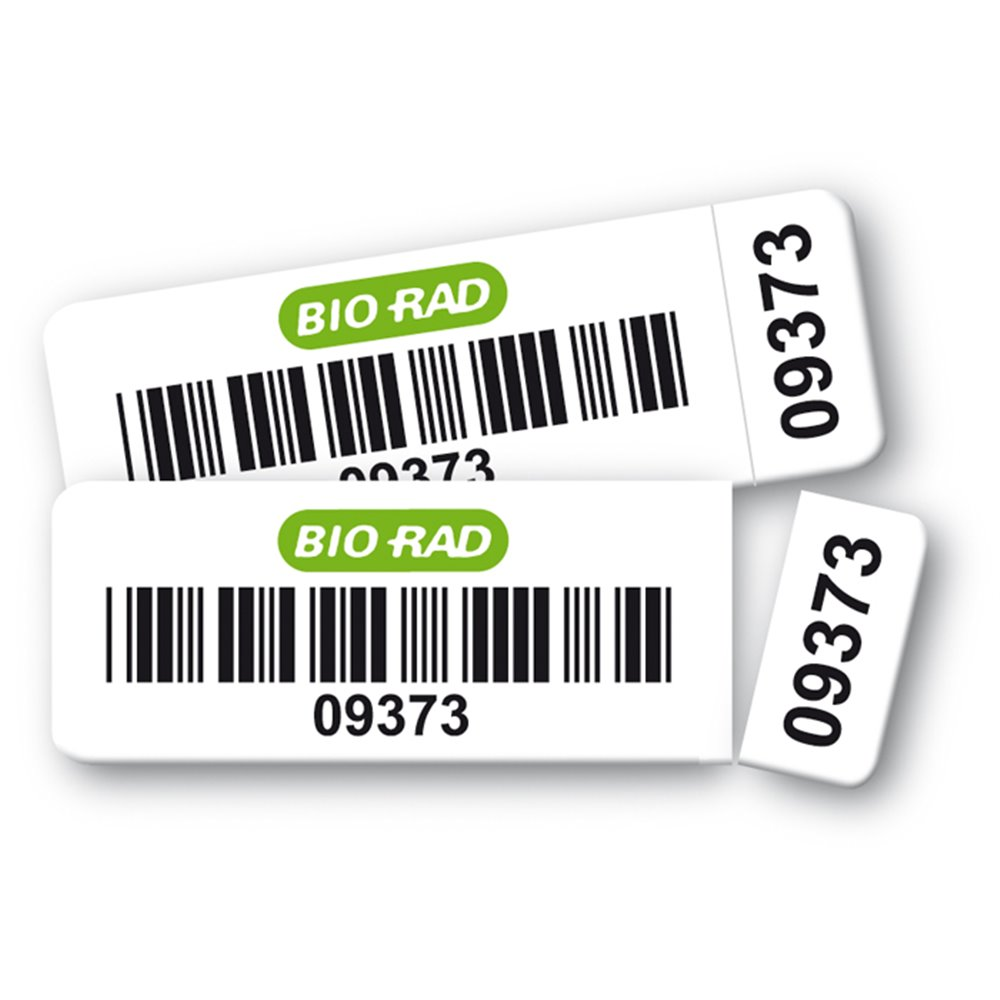 deux etiquettes polyester double adhesif bio rad code barre