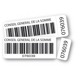 deux etiquettes polyester double adhesif conseil general de la somme code barre