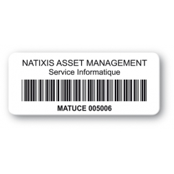 etiquette personnalisee polypropylene logo natixis code barre