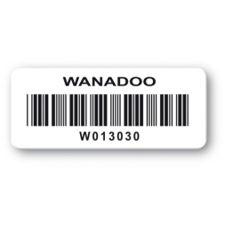 customized reinforced polyethylene asset label wanadoo logo barcode en