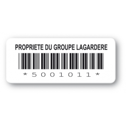 customized reinforced polyethylene asset label lagardere logo barcode en