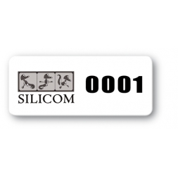 reinforced black print polyethylene asset label silicom logo reference
