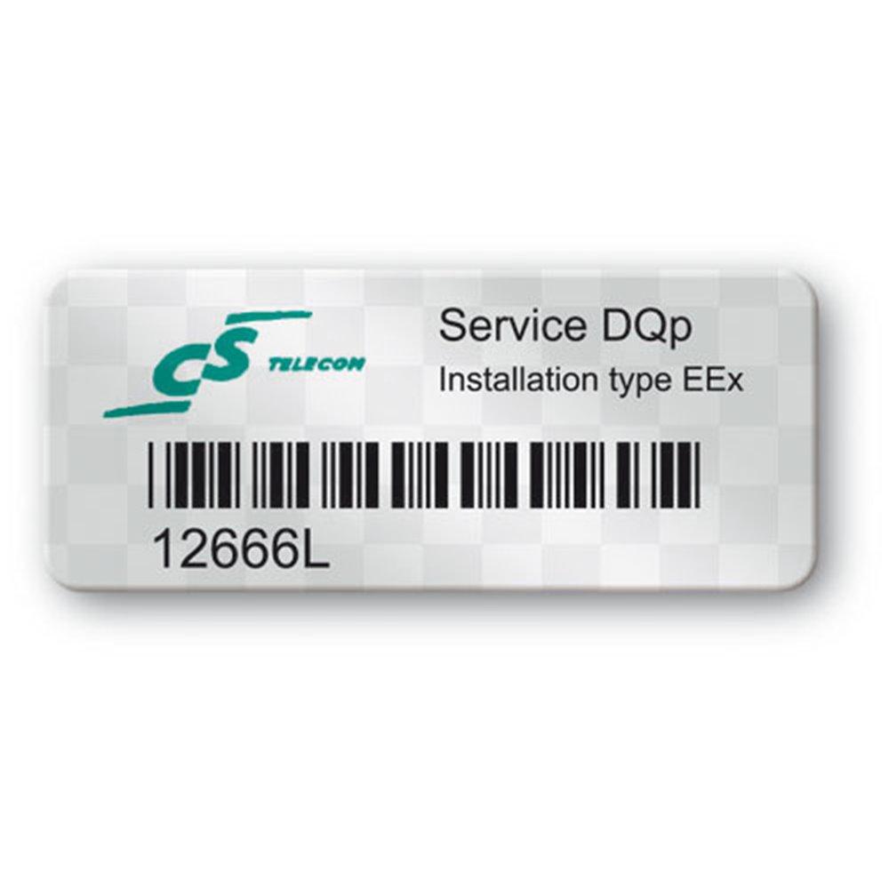 etiquette polyester void logo telcon code barre