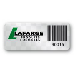 etiquette polyester void logo lafarge code barre