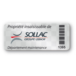 etiquette polyester void logo sollac code barre