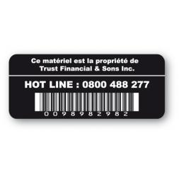 etiquette infalsifiable hot line code barre noire