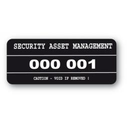 etiquette infalsifiable noire security asset management