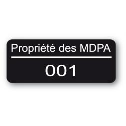 etiquette infalsifiable noire propriete des mdpa reference