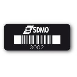 etiquette infalsifiable securisee noire sdmo code barre
