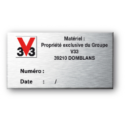 personnalised rigid anodized machine plate logo 3v3 en