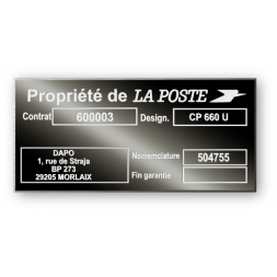 Plaque de firme aluminium 3M rigide 0.8mm anodisée gravure laser petite série urgente