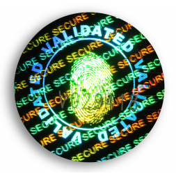 circle tamper proof security hologram with footprint in the middle en