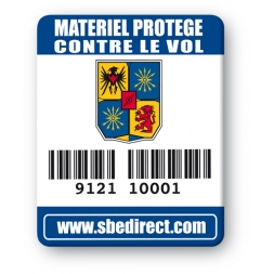 Plaque Inviolable antivol SBE impression couleur