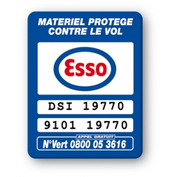 blue security tag with esso logo reference en