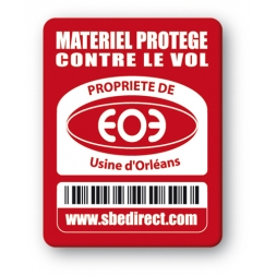 red security tag with usine orleans logo barcode en