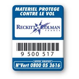 blue security tag reckitt & colman logo barcode en