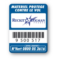 blue security tag reckitt & colman logo barcode en