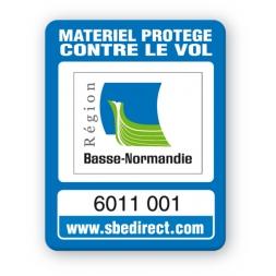 marquage antivol bleue logo basse normande reference