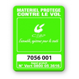 marquage antivol vert fluo logo cerp codebarre