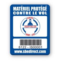 blue security tag centre hospitalier saint cyr logo barcode en