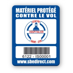 blue security tag centre hospitalier saint cyr logo barcode en