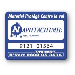 marquage antivol bleue logo naphtachimie reference