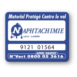 blue security tag with naphtachimie logo reference en