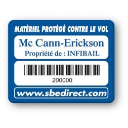 marquage antivol bleue logo mc cann erickson codebarre