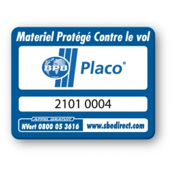 blue security tag with placo logo reference en