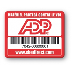 red security tag with adp logo barcode en