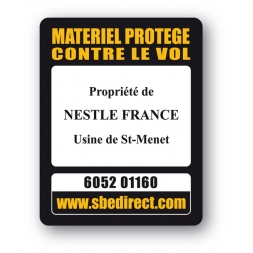 Plaque Inviolable antivol SBE impression texte noir