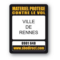 plaque inviolable antivol personnalisee ville de rennes reference