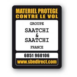 plaque inviolable antivol personnalisee texte noir logo saatchi & saatchi