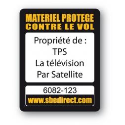 Plaque Inviolable antivol SBE impression texte noir