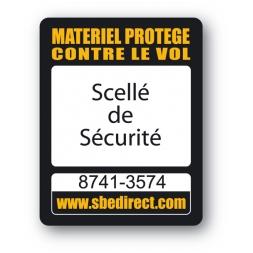 sbe laptop security tag printed scelle de securite en