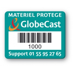 plaque inviolable sbe personalisee globecast code barre